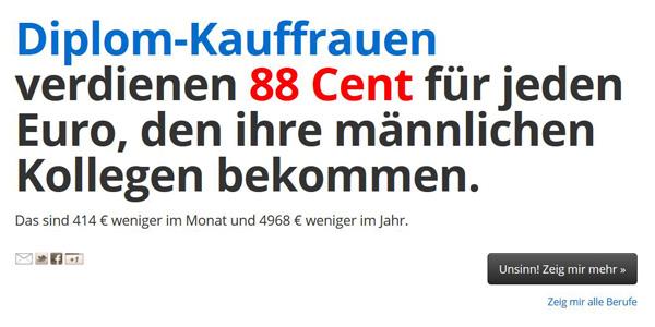 Screenshot des Kopfteils der Seite gleicherlohn.de (abgerufen am 07.03.2019).