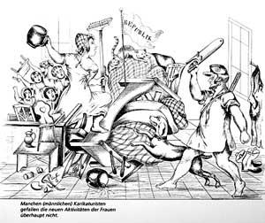 Karikatur Frauenwahlrecht. Foto: LMZ-BW