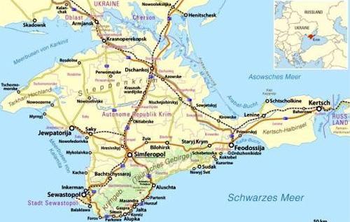 Karte der Halbinsel Krim. Karte: Maximilian Dörrbecker (Chumwa), CC-BY-SA-2.0,  Wikimedia Commons