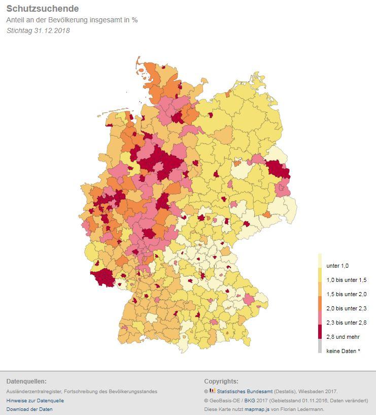 cd738067b0b20 Schutzsuchende nach Kreisen und Anteil an der Bevölkerung. Quelle:©  Statistisches Bundesamt (Destatis