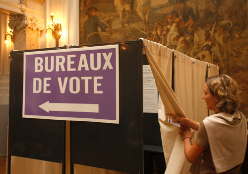 Wahlkabine in Frankreich