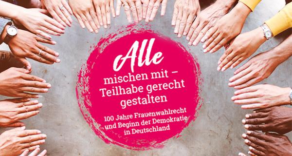 """Programm + Anmeldugn (Titelbild des Flyers Aktionstag in Offenburg """"Alle mischen mit – Teilhabe gerecht gestalten"""""""