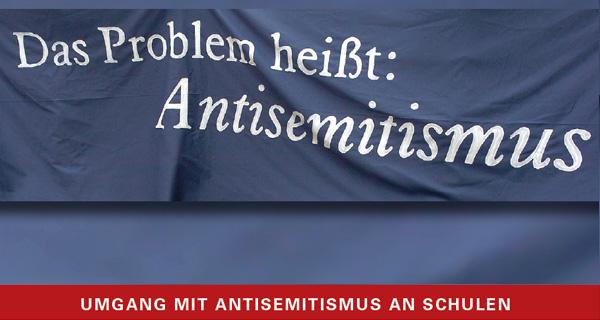 """Programm und Anmeldung (Titelbild des Programmflyers zur Fachtagung """"Wahrnehmen – Benennen – Handeln, Umgang mit Antisemitismus an Schulen"""")"""