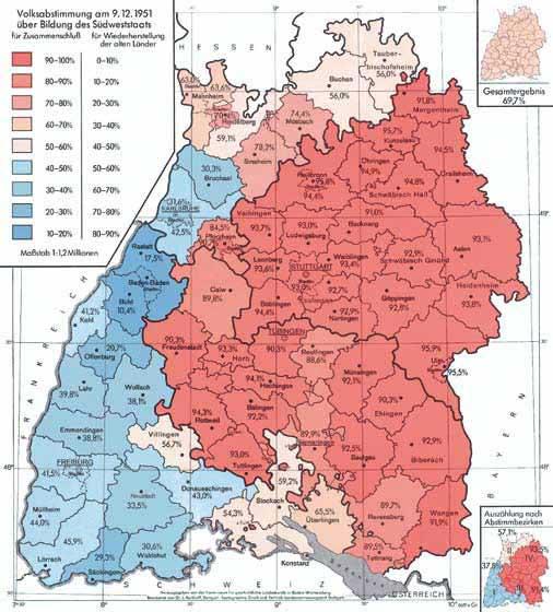 Ergebnisse der Volksabstimmung am 9. Dezember 1951. Karte: Dr. Josef Kerkhoff, Landesvermessungsamt Baden-Württemberg